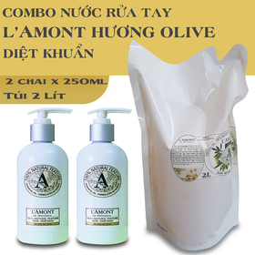 Combo Siêu tiết kiệm gồm 2 chai nước Rửa tay LAmont Olive 250ml và 1 Túi Nước Rửa tay Olive 2 Lít - 2 Nước rửa tay 250ml+túi 2lít