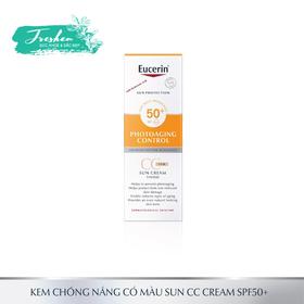 Kem Chống Nắng Làm Đều Màu Da Eucerin Sun Cream Face Tinted CC Cream SPF50+ 50ml - kem chống nắng đều màu da eucerin