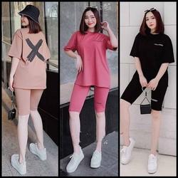 Đồ bộ nữ mặc nhà chất liệu vải thun Cotton 100%, 3 size, 45-80kg vừa, Hình Chữ X