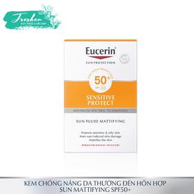 Kem chống nắng không gây nhờn rít cho da thường và da hỗn hợp Eucerin Sun Fluid Mattifying Face SPF50+ - kem chống nắng cho da thường và khô
