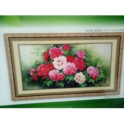 tranh thêu chữ thập hoa mẫu đơn nghệ thuật kt 149x79cm