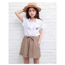Quần short nữ form rộng chất đũi LAHstore, thời trang trẻ, phong cách Hàn Quốc, thương hiệu chính hãng