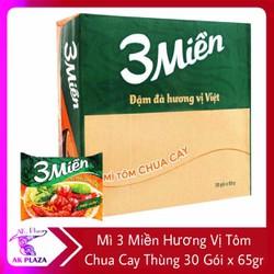 Mì 3 Miền Hương Vị Tôm Chua Cay Thùng 30 Gói x 65gr