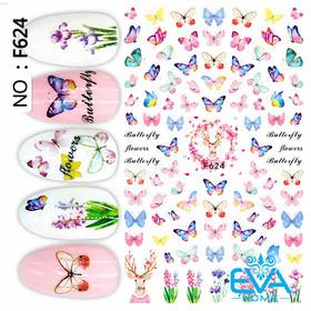 Miếng Dán Móng Tay 3D Nail Sticker Tráng Trí Hoạ Tiết Bướm Hoa Flowers Butterfly F624 - 0010002381