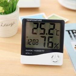 Nhiệt ẩm kế điện tử LCD đo nhiệt độ độ ẩm trong phòng kiêm đồng hồ báo thức HTC-1