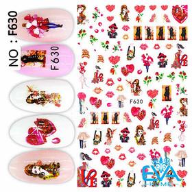Miếng Dán Móng Tay 3D Nail Sticker Tráng Trí Hoạ Tiết Chủ Đề Tình Yêu F630 - 0010002384
