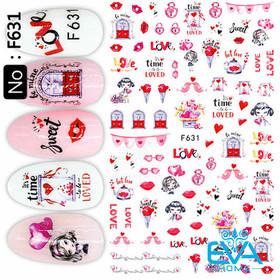 Miếng Dán Móng Tay 3D Nail Sticker Tráng Trí Hoạ Tiết Chủ Đề Tình Yêu Time Love F631 - 0010002385