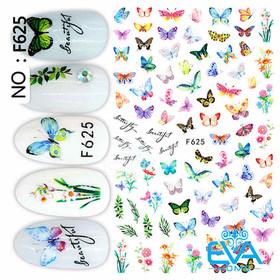 Miếng Dán Móng Tay 3D Nail Sticker Tráng Trí Hoạ Tiết Bướm Butterfly F625 - 0010002382