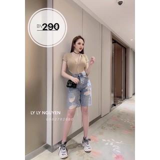 Quần Lửng Jeans Nữ Phối Rách 290 - 290 thumbnail