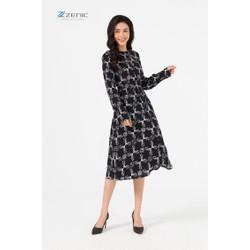 Đầm dài tay họa tiết đen Zenic