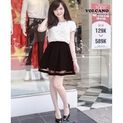 Chân Váy Xếp Ly Lưng Thun Phối Ren Thời Trang Hàn Quốc – Đen