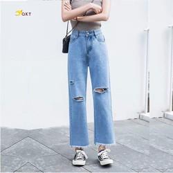 Quần jeans ống rộng rách QKT Qj03