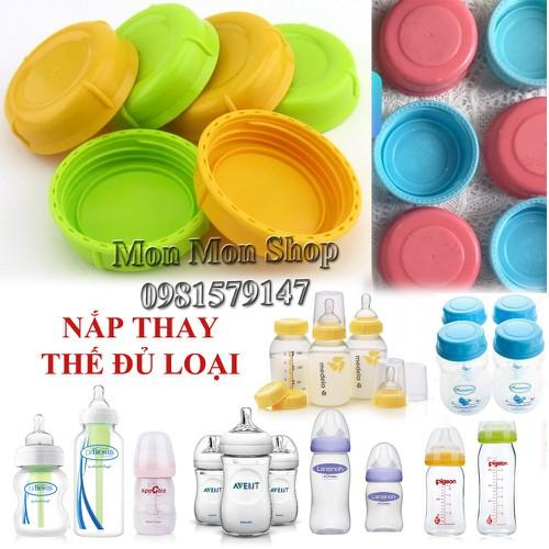 (Đủ size) Nắp bình sữa, nắp bình trữ sữa nhựa an toàn BPA free – vui lòng đọc hướng dẫn chọn nắp