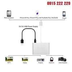 Cáp chuyển đổi Lightning to Digital AV Multiport HDMI VGA Audio Kết nối iPhone, iPad, iPod với HDTV, máy chiếu hoặc thiết bị hiển thị Cổng HDMI, VGA hoặc AV