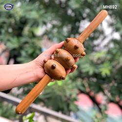 Cây lăn Massage toàn thân 3 bánh bi gai bằng gỗ thơm - chăm sóc sức khỏe - MH892 - HAHANCO
