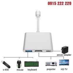 Cáp Chuyển Đổi Type-C Sang USB 3.0 HDMI Adapter Cao Cấp nối máy tính xách tay, máy tính bảng và điện thoại cổng USB-C với Màn hình máy chiếu, TiVi HD