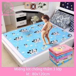 Tấm lót chống thấm trải giường MUJI 3 lớp cho bé size to 80x120cm -100x150cm
