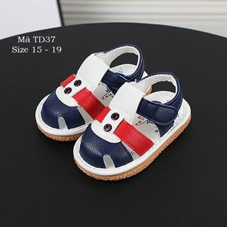 Dép sandal tâp đi bé trai 0 - 18 tháng có kèn chíp chíp da mềm đế chống trơn trượt TD37 - TD37 thumbnail