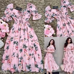 Đầm xòe vải lụa hoa bẹt vai eo thun thiết kế cao cấp 40-78kg