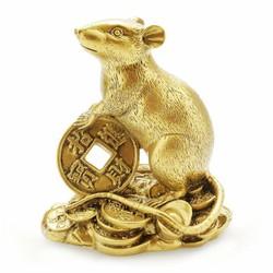 tượng đá linh vật chuột tiền màu đồng