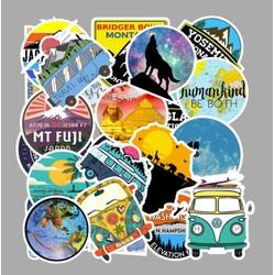 Sticker PHONG CẢNH NGOÀI TRỜI nhựa PVC không thấm nước, dán nón bảo hiểm, laptop, điện thoại, Vali, xe, Cực COOL #56