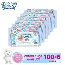 Bộ 6 gói Khăn ướt Bobby Nano Bạc kháng khuẩn 100 tờ chăm sóc làn da nhạy cảm của bé
