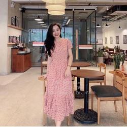 Đầm xòe vải lụa hoa đính ngọc 40-60kg nối viền thiết kế cao cấp