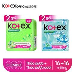 Combo 2 Gói  BVS Kotex Thảo dược kháng khuẩn khử mùi SMC cải tiến mới + 2 Gói Thảo dược Cool dịu mát SMC