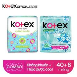 Combo BVS Kotex hằng ngày kháng khuẩn + Thảo dược Cool siêu mỏng cánh