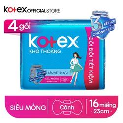 Combo 4 (Gói đôi tiết kiệm) Băng vệ sinh Kotex khô thoáng SMC 23cm (16 miếng/gói)