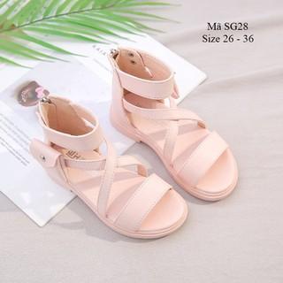sandal bé gái 3 - 12 tuổi - Dép quai hậu học sinh quai chéo kết hợp khóa kéo da mềm thời trang SG28 - SG28HONG thumbnail