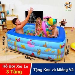Hồ bơi Xia Le SL-C015 3 tầng hình chữ nhật, Bể bơi đáy massage cho bé tập làm quen với nước, đồ chơi hồ bơi - Chợ Lớn Giá Sỉ