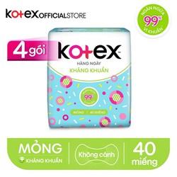 Combo 4 Gói BVS Kotex hằng ngày kháng khuẩn (40 miếng/gói)