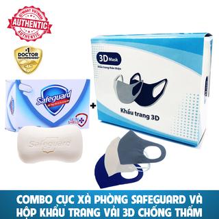 Combo Xà Phòng SAFEGUARD và Hộp 3 Khẩu trang 3D chống thấm, Chống bụi Bảo vệ hô hấp - CỤC SAFEGUARD+HỘP 3 KHẨU TRANG 1