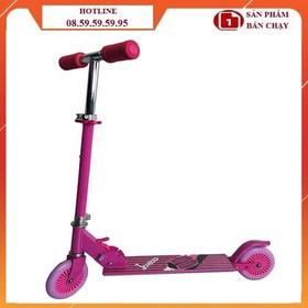 (Tặng bảo hộ) Xe trượt scooter trẻ em hình họa tiết - Xe trượt scooter hồng họa tiết