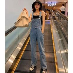 Quần yếm jean dài suông