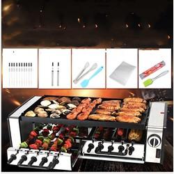 Lò nướng 2 tầng tự xoay 10 xiên BBQ Grill Auto 1600w ABS SUS304 - tặng full phụ kiện nướng
