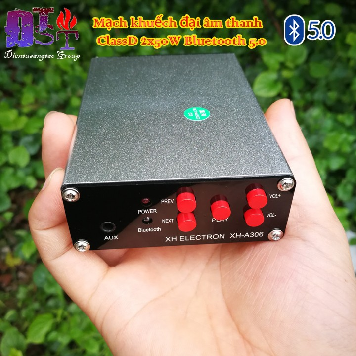 Mạch khuếch đại âm thanh ClassD 2x50W Bluetooth 5.0 Vỏ kim loại