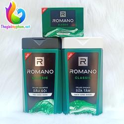 Combo Dầu Gội Romano Classic 380g và Sữa Tắm Romano Classic 380g - Tặng 1 Xà Bông Cục Romano Classic 90g