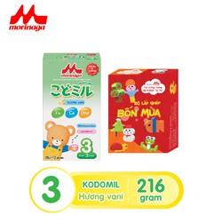 [Mua 1 tặng 1 bộ đồ chơi xếp hình] Sữa Morinaga số 3 Kodomil Hương Vani- Dâu hộp 216g- cho bé từ 3 tuổi trở lên