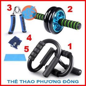 Bộ dụng cụ 5 món tập cơ tay, bụng, hít đất, con lăn - Yêu thể dục thể thao toàn diện - PDS-dung cu tap co bung