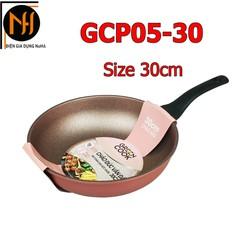 Chảo từ đúc vân đá 7 lớp chống dính Greencook GCP05 size 30cm - Hàng Việt Nam - dùng được bếp từ