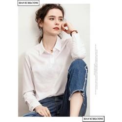[Shop hỗ trợ ship 15k] Áo sơ mi nữ trắng vải lụa nến nhật hacichi.com thoáng mát, phong cách.