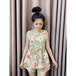 Set áo và quần ngắn hoa lá 40_60kg vải voan