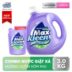 Combo Nước giặt xả Maxkleen hương Vườn Sớm Mai: 1 Chai 2.4kg + 1 Túi 600g