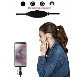 Camera nội soi lấy ráy tai Ear003 có đèn led hỗ trợ smartphone android và máy tính-với 3 đầu kết nối USB, mUSB và Type C - Ear003