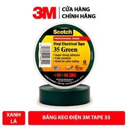 Băng Keo Điện 3M Vinyl Electrical Tape 35 Màu Xanh Lá Khổ 3/4'' x 66ft - Hàng Chính Hãng