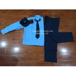 Quần áo bảo vệ dài tay đai bo kèm cầu vai, ve áo, nón kèm sao, cà vạt - hình thật
