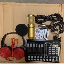Bộ Mic Hát thu âm Livestream BM900-Sound Card H9 kèm tai ốp và phụ kiện bảo hành 6 tháng
