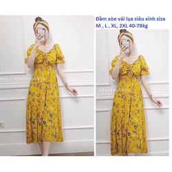 Đầm xòe vải lụa hoa bẹt vai eo thun 40-78kg size M, L, XL, 2XL